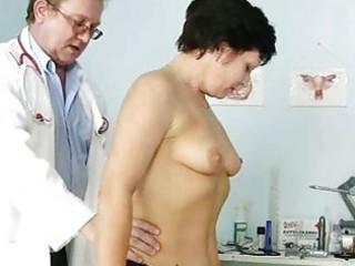 older woman eva visits gyno doctor to get gyno ex