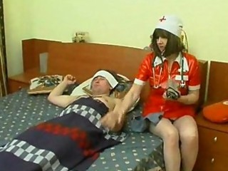 mature nurse at patient abode