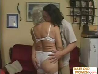 sexually excited grandma felt up and drilled hard