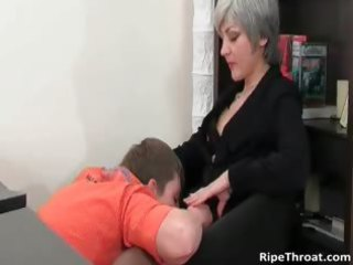 excited milf gives oral-stimulation to horny