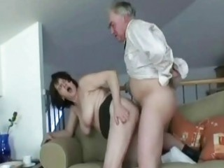 hot granny slut bends over and takes old ramrod