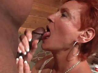 sexy redhead granny cougar takes bbc