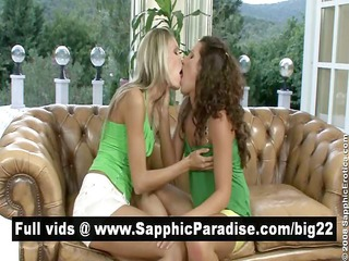 hot dark brown and blond lesbian babes giving a