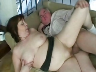 granny working a hard ramrod like a real champ