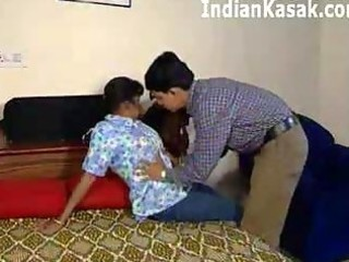 Indian mature aunty fucking with cute boy in