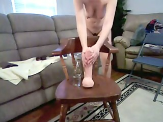Wife with Delicious Breast Rides Massive Sex-Toy
