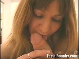 mature aged takes a facial betwixt eyes