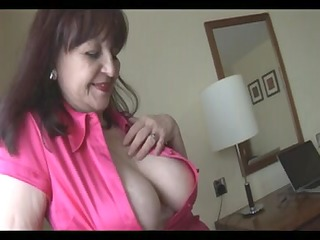 large breasts mature secretary teases and toys