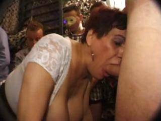 busty french aged sucks cock with a younger babe