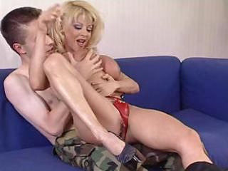 mature woman donna checks youthful soldier s