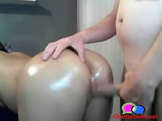 boy jerking off at his wifes oily wazoo -