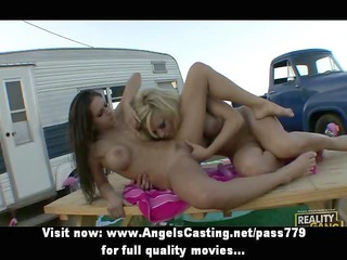 two cute bare lesbos toying twat with sex tool