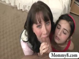 Stepmom teaches teen how to suck the cock of her