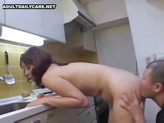 Busty Asian girl gets licked, titty fucks and