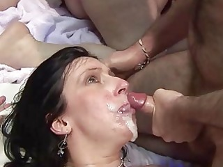 older drilled hard and taking facial cum