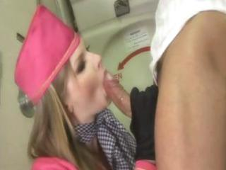 excited blond milf stewardess sucks his tool and