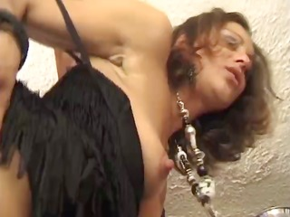 pleasant dark brown in sexy fishnets gets
