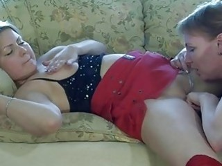 youthful blonde in nylons and aged momma