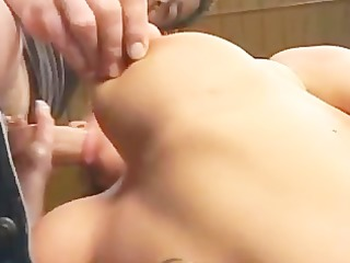 sharon da val - bar maid fucked by two lads