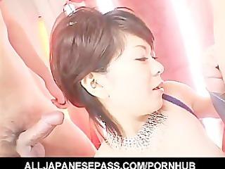 dick cheerful japanese babe eating cum