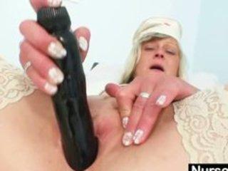 obscene nurse milf nada bonks herself with large