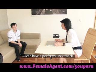 femaleagent. mother i casts young, nervous man
