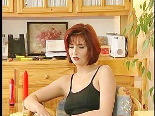 gorgeous milf masturbates during interview