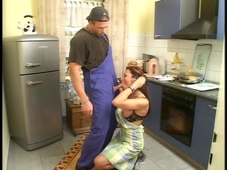 farmers wife has threesome goods in the kitchen