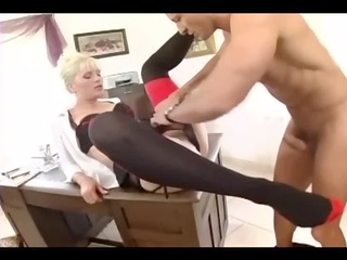 Blonde secretary fucked in stockings and a garter