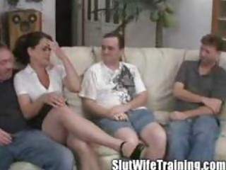 wife holly receives gangbanged on her training