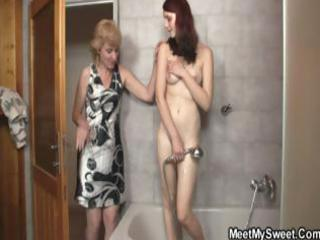 golden-haired mommy interrupts daughters shower