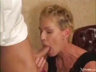 Short-haired mature blonde gets fucked by the