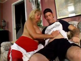 aged plump blonde nibbles on his youthful boner