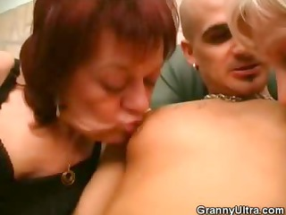 grannies share sucking a dick