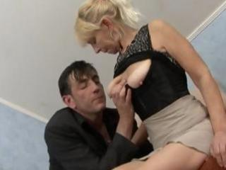 Blonde granny gets a cock to suck and fuck and