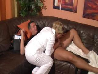 breasty aged blonde sucks cock and receives