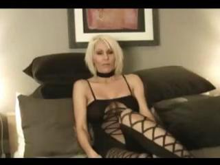 older blonde girl jan b wears a sexy black outfit