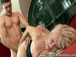 wild granny in stocking curly twat group-fucked