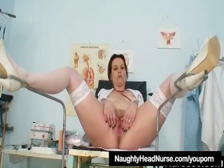 unpretty mature nurse masturbates with gyno tool