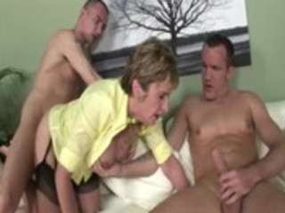 older stocking brit sonia threesome fuck and