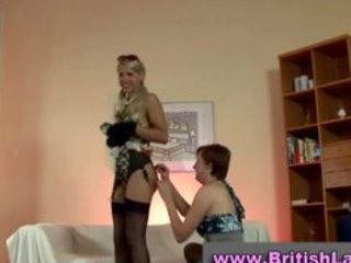 older british lady dresses golden-haired in nylons
