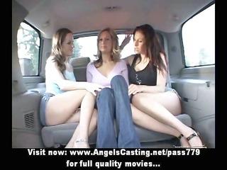 lesbian sweethearts and cute hitchhiker kissing