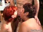 Slutty mature bitches piss and gets wet