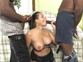 breasty milf gets ravaged by two weenies in front