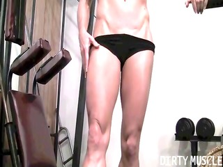 Mandy K shows her chiseled body of a female