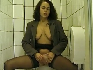 public lavatory blowjob and peeing with amateur