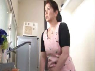 Japanese mature housewife does an old man and a