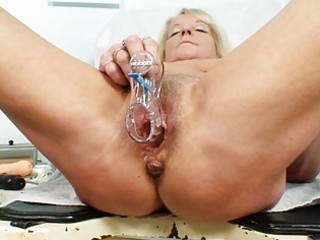 hot blond granny doxy receives her curly examined
