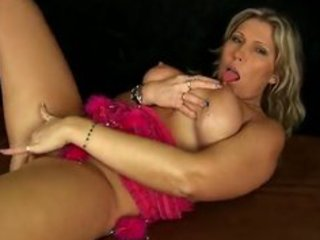 breasty milf gitte with gold sex-toy