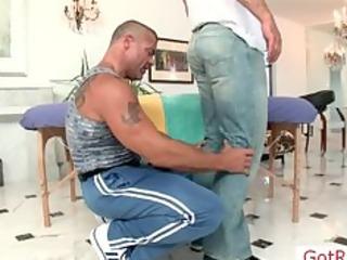 muscled mature chap gets massaged part3